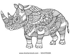 Rhinoceros coloring book for adults vector illustration. Anti-stress coloring for adult. Tattoo stencil. Zentangle style. Black and white lines. Lace pattern