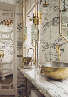 Lovely: Brass is the new black. This bathroom designed by Maddox Creative is also clad completely in marble. Perhaps brass and marble is the look we'll be seeing more of going forward. Bad Inspiration, Bathroom Inspiration, Interior Inspiration, Arabescato Marble, Bathroom Interior, Gold Bathroom, Eclectic Bathroom, Marbel Bathroom, Black Marble Bathroom