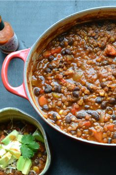 Black Bean and Lentil Chili: smokey, spicy and topped with lots of avocado, shredded cheese, cilantro and a bit of lime. - Black Bean and Lentil Chili Chili Recipes, Veggie Recipes, Whole Food Recipes, Cooking Recipes, Cookbook Recipes, Cooking Tips, Lentil Recipes, Veggie Food, Dinner Recipes