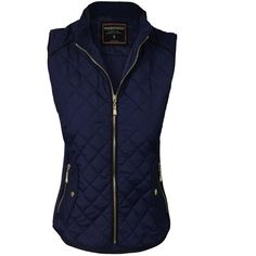 makeitmint Women's Basic Solid Quilted Padding Jacket Vest w/ Pockets ($29) ❤ liked on Polyvore featuring outerwear, vests, vest waistcoat, quilted vest, blue quilted vest, padding vest and blue vest