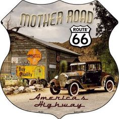 Route 66 Mother Road Highway Shield Metal Sign Novelty Retro Home Wall Decor Old Route 66, Route 66 Road Trip, Historic Route 66, Travel Route, Road Routes, Pin Up Girls, Garage Art, Garage Ideas, Old Signs