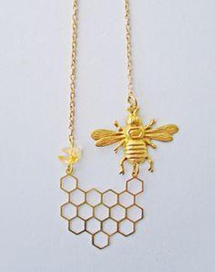 I'll Have A Bee Please, Bob! Honeycomb Necklace