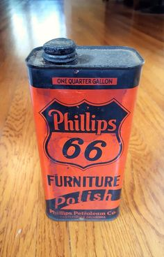 Vintage Phillips 66 Furniture Polish Advertising Tin Qt Size Gas Oil Can | eBay