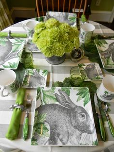 A Toile Tale: Salute to Bullseye. Great square rabbit dishes from Home Goods look great with grey stipe tablecloth.