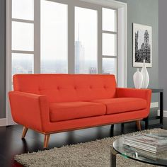 LexMod - Engage Upholstered Loveseat in Atomic Red Sleeper Sofa, Recliner, Sofas, Couches, Couch Sofa, Modern Sofa, Contemporary Sectionals, Modern Contemporary, Midcentury Modern