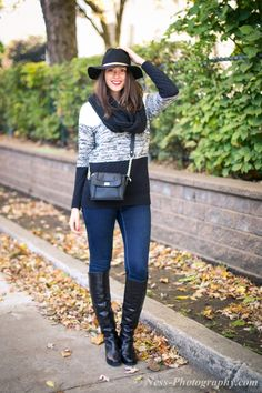 Fall Fedora, Sweater and Knee-High Boots | Candidly Julie