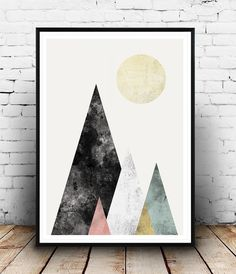 Geoemtric print Watercolor print Abstract poster by Wallzilla