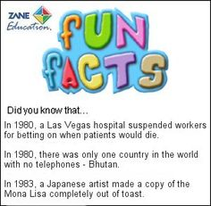 Fun Facts 89 from Zane Education at http://www.zaneeducation.com