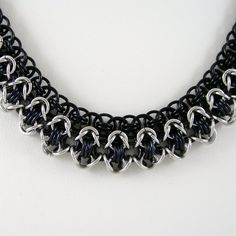 Chainmail Necklace Rondo a la Byzantine Black and Aluminum