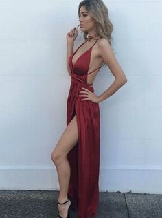 Beautiful Prom Dress, new arrival prom dress modest prom dress sexy burgundy maxi dress v neck evening dress long formal dress backless prom dress slit side dresses Meet Dresses Split Prom Dresses, Backless Prom Dresses, Prom Party Dresses, Modest Dresses, Ball Dresses, Pretty Dresses, Homecoming Dresses, Sexy Dresses, Beautiful Dresses