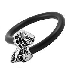 Black Flexible Cable Biker Bangle Bracelet with Two Stainless Steel Skulls >>> Find out more about the great product at the image link.