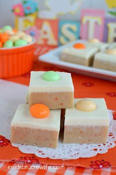Carrot cake batter fudge topped with cream cheese fudge. This is such a fun fudge flavor!