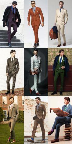 Men's Alternative Suit Colours & Bold Socks Lookbook