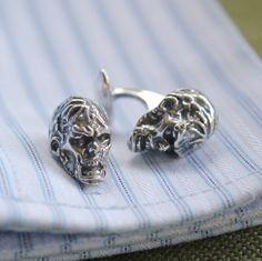 Silver Zombie Head Cufflinks Walking Dead Zombie Cuff by mrd74, $70.00