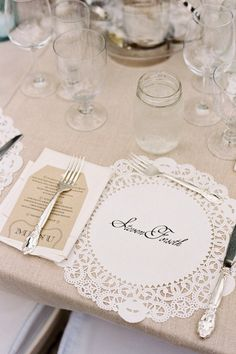 Genius name cards for this Lake Tahoe wedding: beautiful calligraphy on paper doilies! :: Great idea for when using clear glass plates and entertaining~ Wedding Events, Wedding Reception, Our Wedding, Dream Wedding, Trendy Wedding, Wedding Shoes, Reception Ideas, Wedding Card, Wedding Stamps