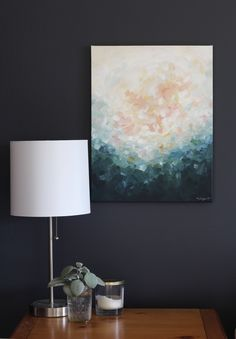 Bedroom artwork, simple home styling | artwork by Kendra Castillo
