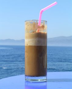 ♥♥♥♥♥ Ice cold instant coffee in shaker. Add ice and milk if you like Samos, Greece Islands, Frappe, Coffee Love, Amazing Nature, Pint Glass, Pillar Candles, Shake, Smoothies