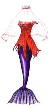 A mermaid tail in iridescent purple, with a tattered red tunic decorated with red seaweed and white lilies, plus a veil.