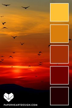 Red sunset inspired color palette - warm colors Red Sunset Inspired Color Palette - Warm Colors Six Sun Inspired Color Palettes - # colorscheme Paper Heart Design - Wedding Colors Sunset Color Palette, Red Colour Palette, Sunset Colors, Palette Art, Color Schemes Colour Palettes, Warm Color Schemes, Red Color Combinations, Orange Color Schemes, Orange Color Palettes