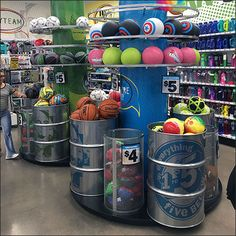 If Summer sales are an important part of your retail business, consider upping your game to match this Bulk Bin Barrel Ball Display Overview concept Reuse Center, Pop Display, Barrels, Retail Design, Coffee Cans, Basketball, Sport, Creative, Ideas