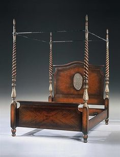 19th century French mahogany & walnut four poster bed frame, spiral turned repousse silvered columns.
