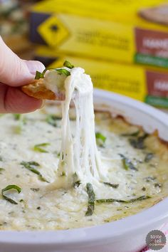 White Cheese Dip - Hot and cheesy and totally addictive. The perfect addition to any pizza night.