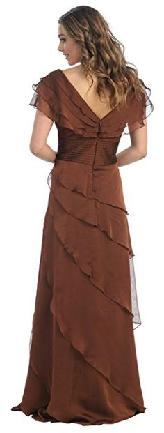 Mother of the Bride Formal Evening Dress #831 (Medium, Brown)