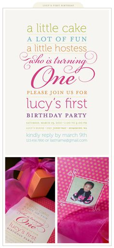 """ADORABLE wording and """"theme"""" for a first birthday!"""