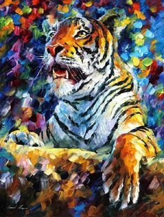 Leonid Afremov ~ Beautiful portrayal of the mighty tiger ~ my favorite big cat ~