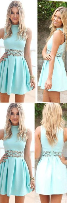 A-Line High Neck Short Blue Spandex Homecoming Dress With Lace