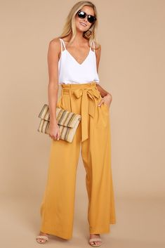An Introduction White Top Red Dress Outfit Casual, Flowy Pants Outfit, Yellow Pants Outfit, Casual Outfits, Cute Outfits, Wide Leg Pants Outfit Summer, White Outfits For Women, Clothes For Women, Look Fashion