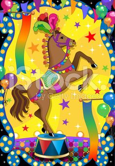 brown circus horse doing a trick royalty-free stock vector art