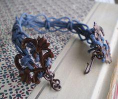 Blue Jean Knots lacy macrame hemp cord fiber by jettabugjewelry, $18.00