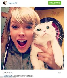 Cat lady; Taylor regularly shares pictures of her cats and is shown last October with her pet Meredith in an Instagram snap