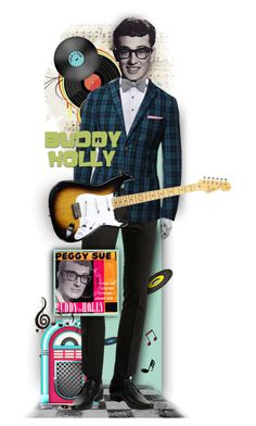 """Buddy Holly - 1936-1959"" by tracireuer ❤ liked on Polyvore featuring art and country"