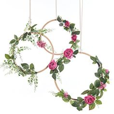 Ling's moment Summer Greenery Wedding Handcrafted Vine Wreaths Set of 3, Christmas Decor Rustic Wedding Backdrop, Artificial Roses Plant Flower Garland, Woodland Wedding decoration Floral Hoop - http://partysuppliesanddecorations.com/lings-moment-summer-greenery-wedding-handcrafted-vine-wreaths-set-of-3-christmas-decor-rustic-wedding-backdrop-artificial-roses-plant-flower-garland-woodland-wedding-decoration-floral-hoop-2.html