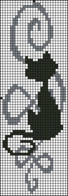 Cross-stitch black cat bookmark... no color chart available, just use pattern chart as your color guide.. or choose your own colors...
