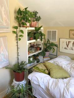 Room Design Bedroom, Room Ideas Bedroom, Bedroom Inspo, Bedroom Decor, Bedroom Plants, Indie Room, Cute Room Decor, Aesthetic Room Decor, Plant Aesthetic