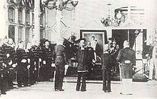 Sultan Muhammad Daud Syah Johan Berdaulat of Aceh surrendering himself to the Dutch East Indies during the last days of Aceh War (January 1903) in Meuligoe Palace. Dutch East Indies was represented by General van Heutsz.