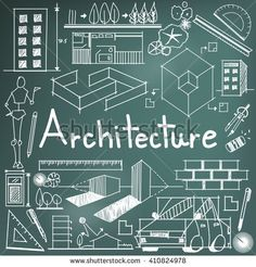Architecture and architect design profession and building exterior blueprint handwriting doodle tool sign and symbol in