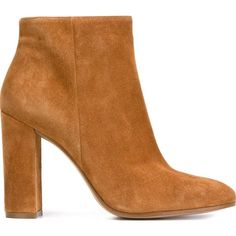 Gianvito Rossi Chunky Heel Ankle Boots ($793) ❤ liked on Polyvore featuring shoes, boots, ankle booties, botas, heels, brown, ankle boots, brown booties, brown leather booties and brown leather bootie