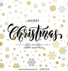 Christmas decoration background. Vector pattern of winter golden and silver crystal snowflake, ornaments. New Year, Merry Christmas festive text calligraphy lettering for  greeting card