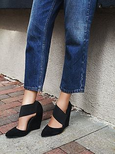 Madrid Wedge   Pointed-toe suede wedges with sculptural elastic strapping. Pull-on style.
