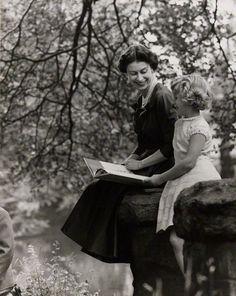 Queen Elizabeth II reads to Princess Anne- Lord Snowdon, 1957