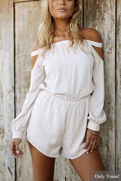 White Off Shoulder High Waisted Lantern Sleeves Playsuit