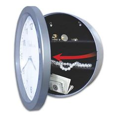 Place this Embassy hidden safe wall clock on a wall and no one would know that you have valuables hidden in this amazingly deceptive diversion safe. Secret Storage, Gun Storage, Safe Storage, Hidden Storage, Storage Ideas, Small Safe, Hidden Safe, Hidden Gun, Silver Wall Clock