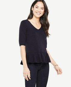 #Ann Taylor - #Ann Taylor Ann Taylor Petite Elbow Sleeve Peplum Sweater - AdoreWe.com