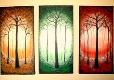 Triptych Abstract Tree Painting Large Three Sections by shirlysart, $130.00
