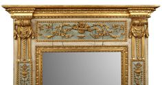 Italian 18th Century Louis XVI Period Patinated and Giltwood Trumeau | From a unique collection of antique and modern trumeau mirrors at https://www.1stdibs.com/furniture/mirrors/trumeau-mirrors/