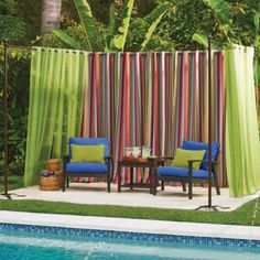 50 Pretty Outdoor Curtain Ideas Make Garden Colorful. Outdoor curtains immediately boost the appeal of your home and should be on top of your outdoor decorating list. Porch curtains add shade to your . Garden Privacy, Privacy Screen Outdoor, Backyard Privacy, Diy Pergola, Pergola Kits, Backyard Landscaping, Pergola Plans, Cheap Pergola, Pergola Ideas